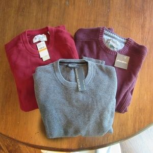 Lot of 3 NWT Mens Crew Neck Sweaters BR EB Penguin